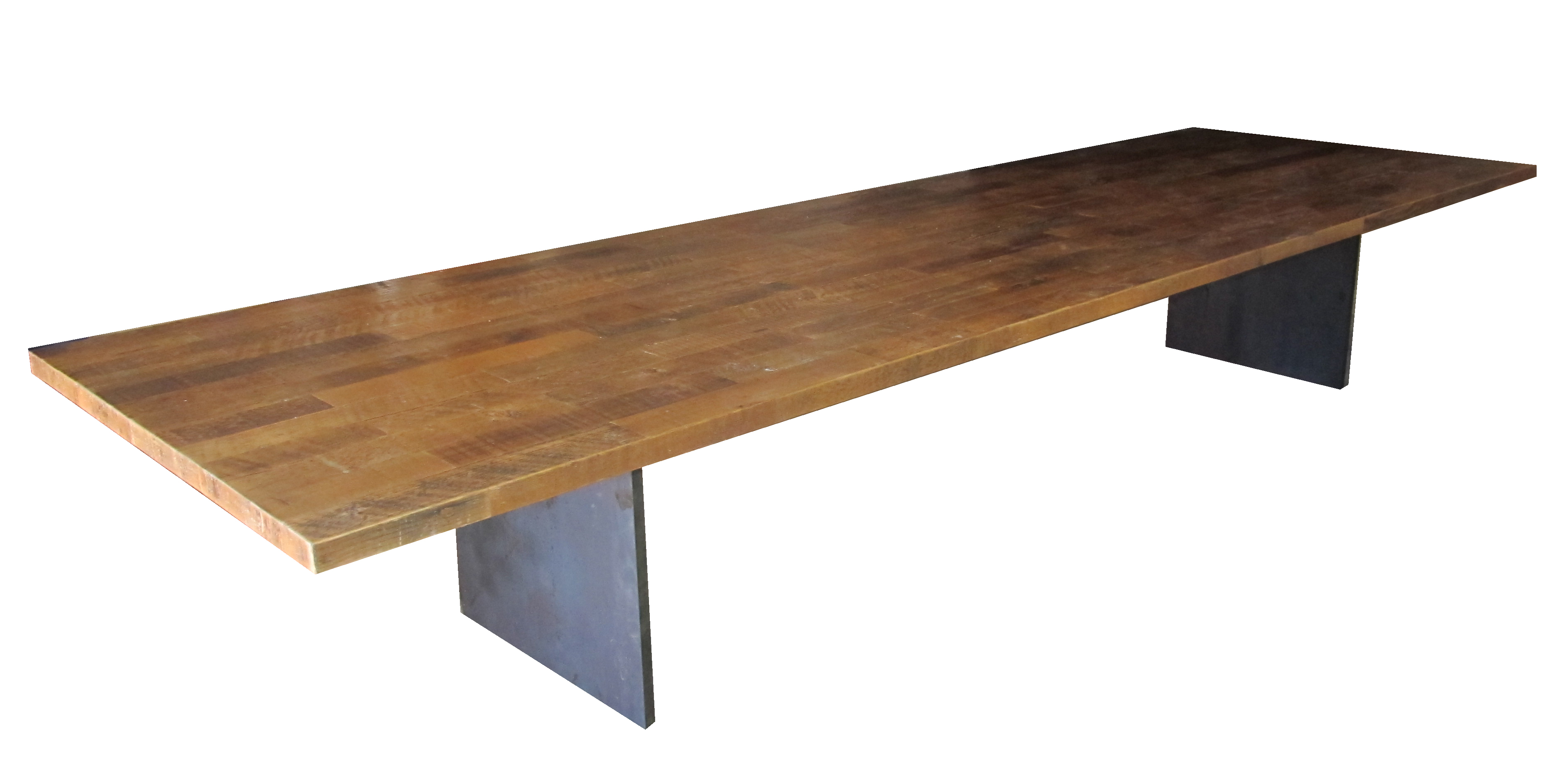 Industrial table  fifteen feet long with reclaimed wood top and steel base. Custom Industrial Table   Urban Woods