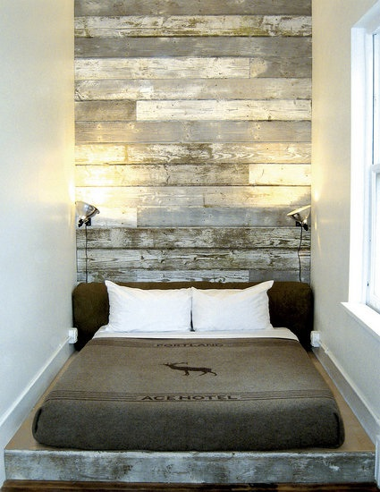 Ace Hotel Portland created dramatic salvaged wood headboard - Reclaimed Wood for furniture walls and floors