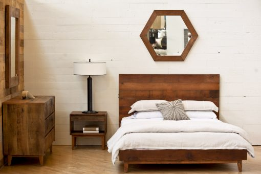 Reclaimed wood, natural platform bed, mid-century, eco friendly